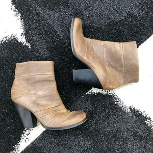Vince Camuto Taupe Belta Pleated Ankle Boots